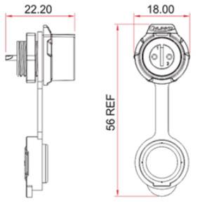 Герметичный разъем IP68 на 2 контакта