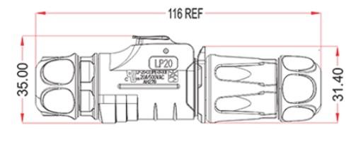Герметичный коннектор серии LP-20 на 2 контакта