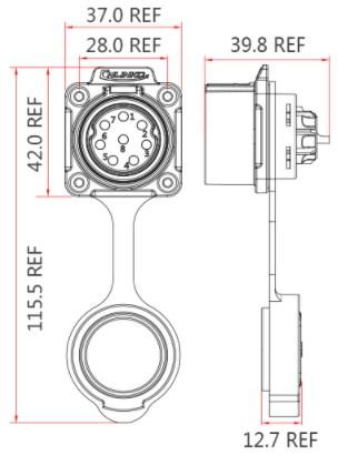 Силовая герметичная розетка LP28