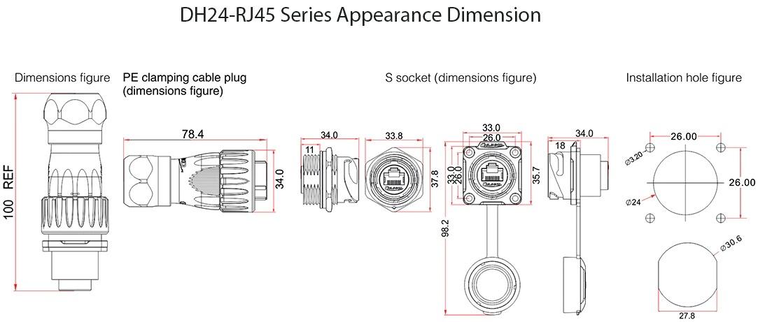 Герметичный разъем RJ45 - DH-24-C/RJ45/015/PE-43-001