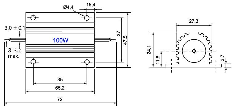 RX24-100W - Алюминиевый резистор 100Вт