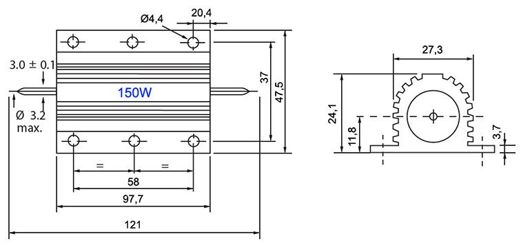 RX24-150W - Алюминиевый резистор 150Вт