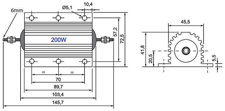 RX24-200W - Алюминиевый резистор 200Вт