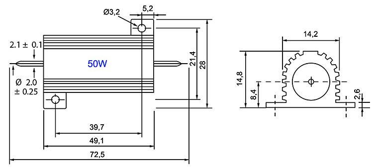 RX24-50W - Алюминиевый резистор 50Вт